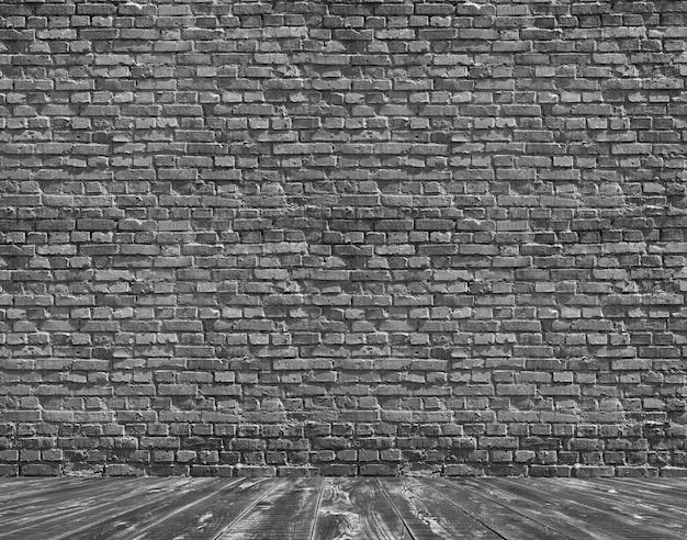 벽돌 벽과 나무 바닥 배경으로 룸 인테리어 빈티지