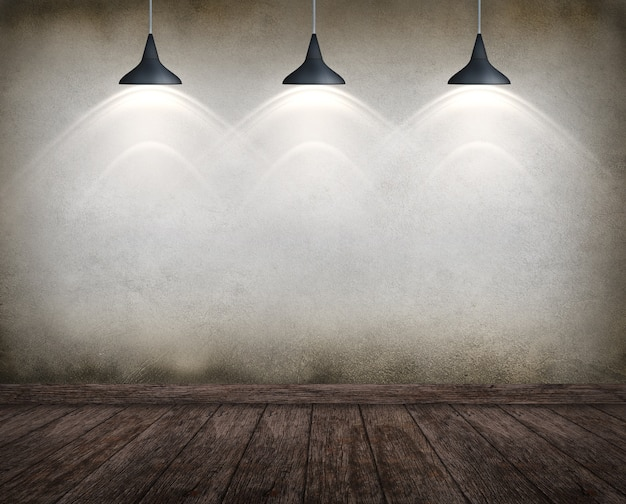 Room interior vintage with spotlight. may use as grunge halloween background