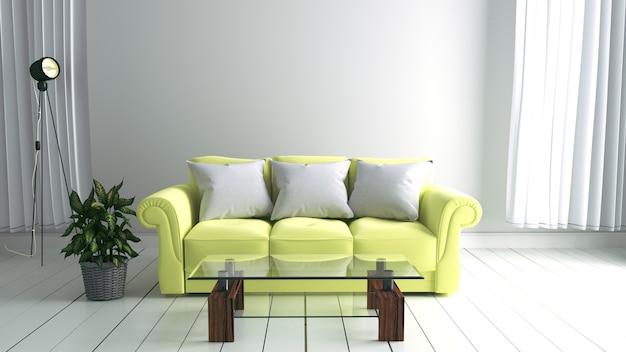 モダンなソファーと緑の工場とフレームで室内の壁をモックアップ