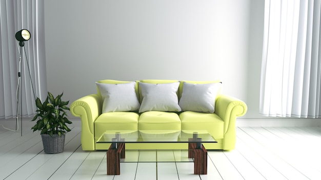 Room interior wall mock up with modern sofa and green plant and frames