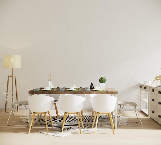 Интерьер комнаты с обеденным столом и бараниной