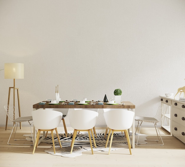 Room interior with dining table and lamb