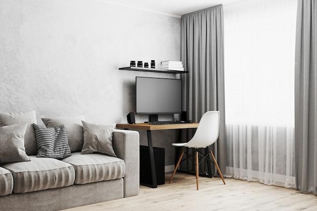 Интерьер комнаты с домашним рабочим местом с деревянным столом, пк, белым стулом, окном с серыми шторами, 3d-рендеринг