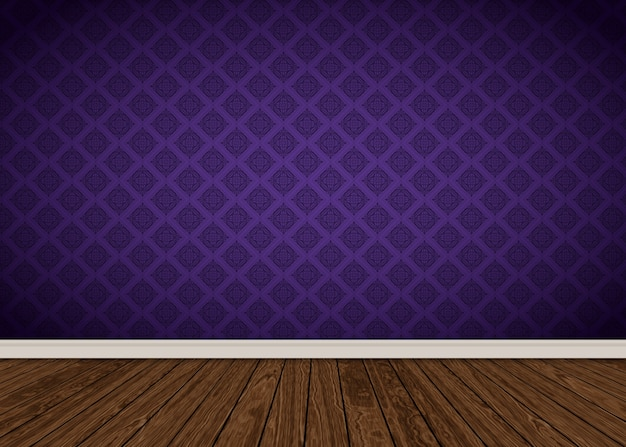 Room interior with purple damask wallpaper and wooden floor
