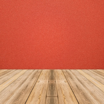 Room interior with red cloth wall and wood floor background