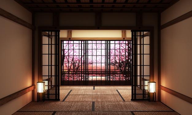 Room interior with window view sakura tree, japanese style. 3d rendering