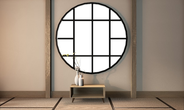 Room japanese style with empty wall on tatami floor, 3d rendering
