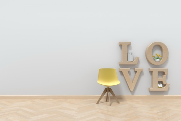 The room of love intended for reading books and living, 3d rendering
