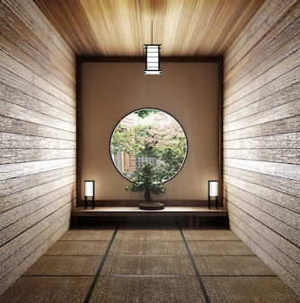 Room minimal design with tatami mat floor and japanese, empty room interior