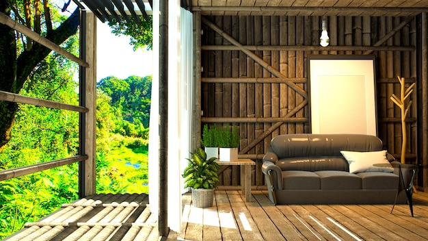 Room nature interior design - tropical style. 3d rendering