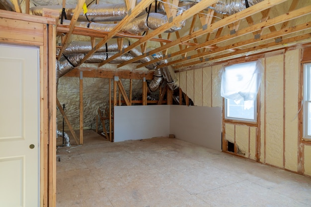 A room at a newly constructed home sprayed with liquid insulating foam