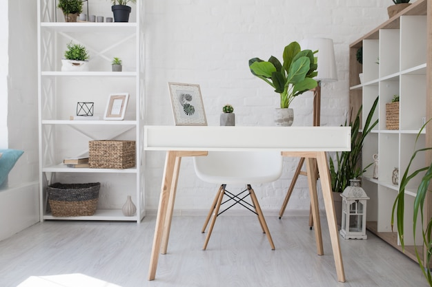 Room in the scandinavian white style, desktop for laptop,