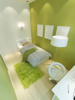 Room for a teenager in a modern style in light green and white colors. a bed, a floor lamp and a workplace for a teenager. 3d render.