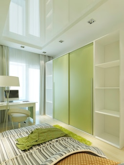 Room for a teenager in a modern style with a large sliding closet wardrobe in light green and white colors. dressing room in the nursery for a boy. 3d render.