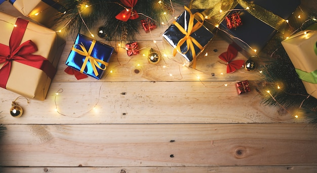 Room for text christmas decoration on wooden plank. top view