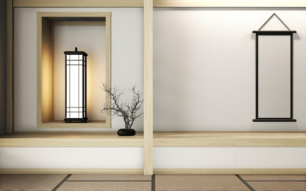 Номер в стиле дзен с отделкой в японском стиле на татами. 3d рендеринг