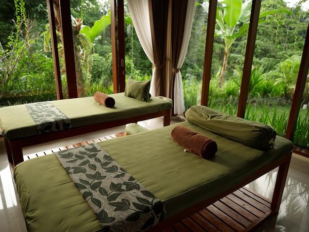 Комната с кроватями зеленые одеяла единение с природой большие окна пейзаж свежий воздух