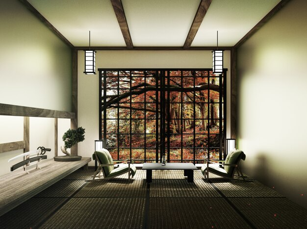 Room with bonsai tree and low table