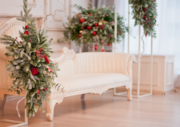 Room with christmas decorations. new year and winter concept.