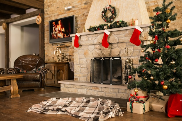 Room with christmas tree and fire place