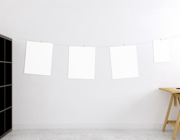 乾燥ロープに空のキャンバスがある部屋