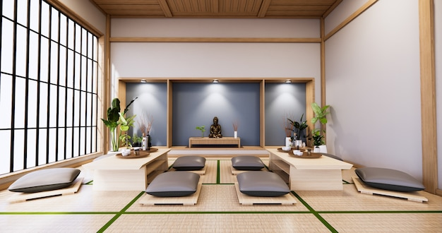 Room with glass wall design japanese style