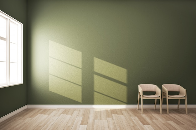 Room with green wall and two chair.3d rendering.