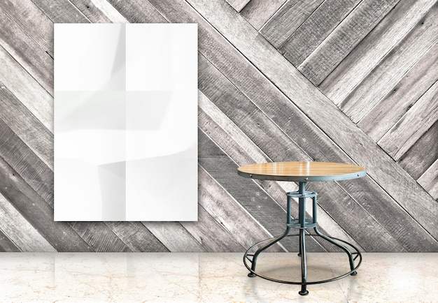 Room with hanging blank crumpled white poster and wooden table at diagonal wooden wall