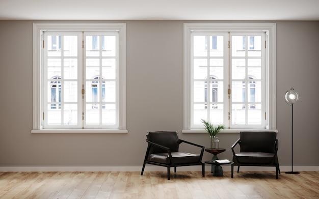가벼운 벽과 검은 색 안락 의자와 커피 테이블이있는 나무 바닥이있는 방. 밝은 방 인테리어 모형. 모형을위한 빈 방입니다. 3d 렌더링.