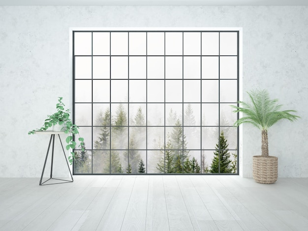Room with loft window and small interior plants