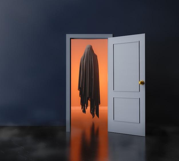 Комната с открытой дверью и призраком, парящим внутри с теплым светом. 3d рендеринг