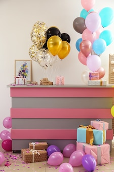 생일 파티를 위해 장식 된 리셉션 데스크가있는 객실