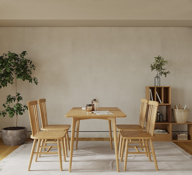 Комната со столом и стулом и декором