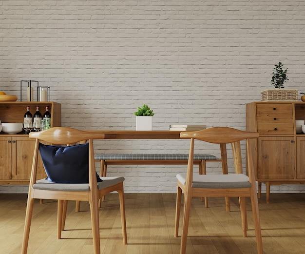 Room with wooden table and wooden chair
