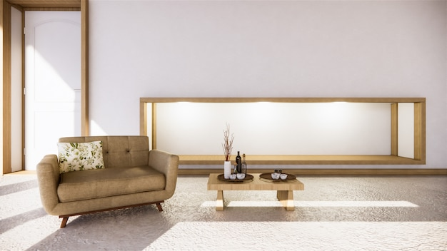 Room zen style and decoraion wooden design, earth tone.