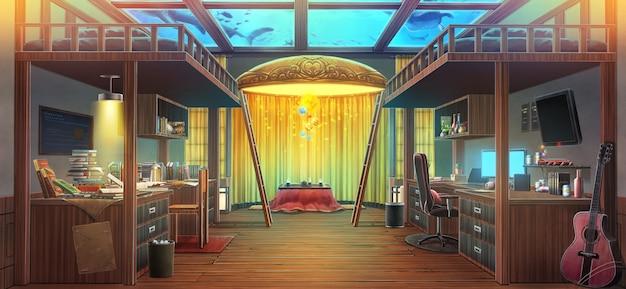 Соседка по комнате и иллюстрация аквариума фантазии.