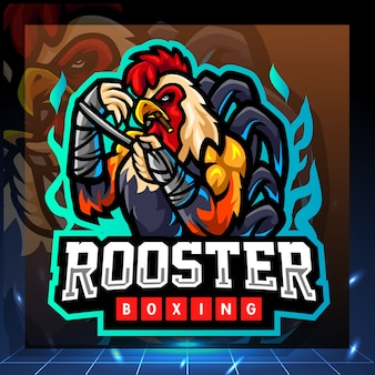 Rooster boxing mascot esport logo design