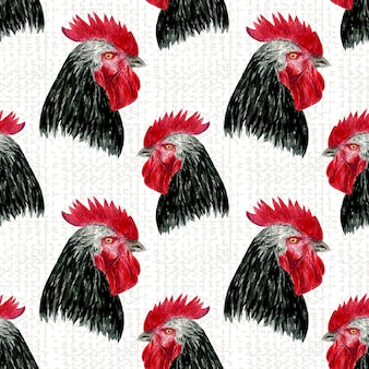 Rooster seamless pattern. watercolor farm birds