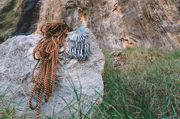 Rope and carabiners on rock