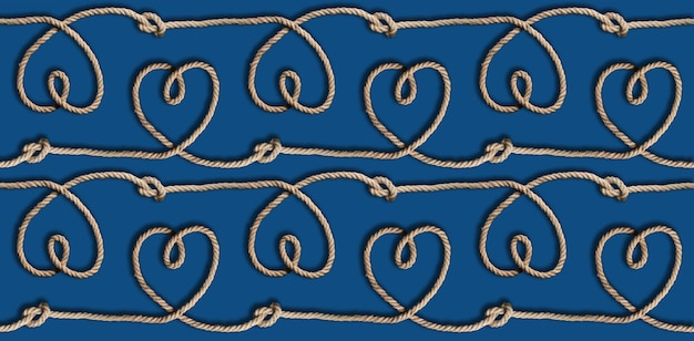 Rope hearts and knots on blue background seamless endless pattern. flat lay