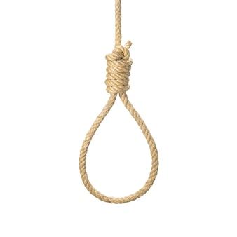 Веревочная петля для палача, самоубийства из натурального волокна веревка реальное фото изображение. веревка пеньковая веревочный узел для виселицы и виселицы. изолировать на белом фоне