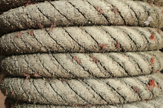 Rope texture on the wooden pole.