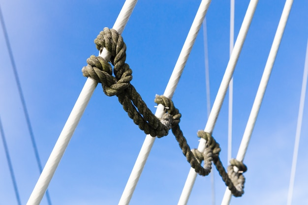Rope tied knot with sky background