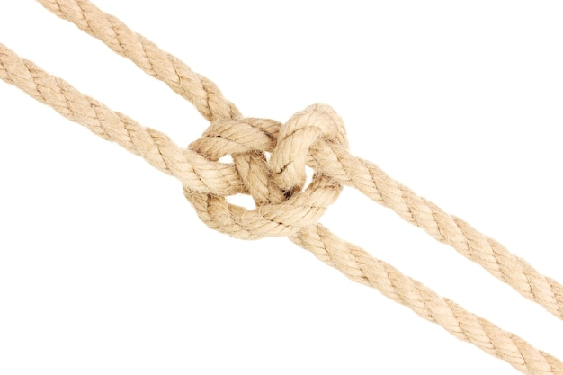 白で隔離の結び目とロープ