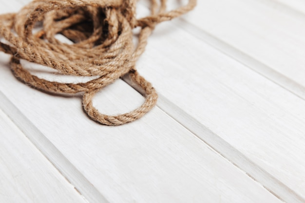 Rope on wooden surface