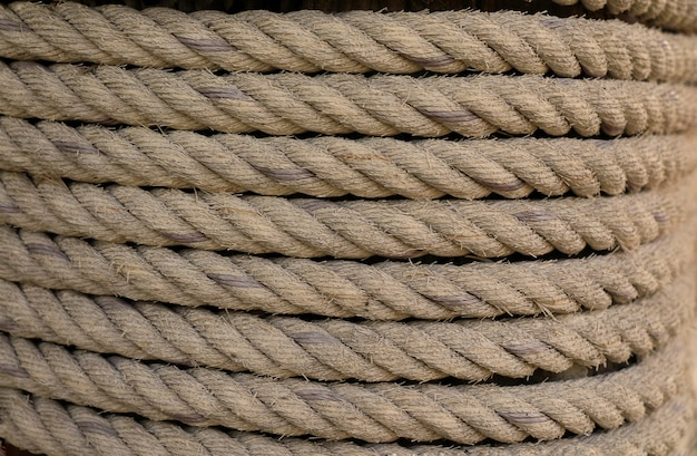 Rope wrapped around the pole.