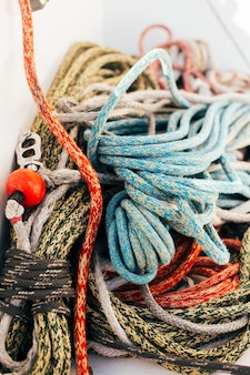 Ropes on deck of professional sailing yacht