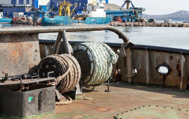 Ropes for the marine ship amid sea port on kamchatka