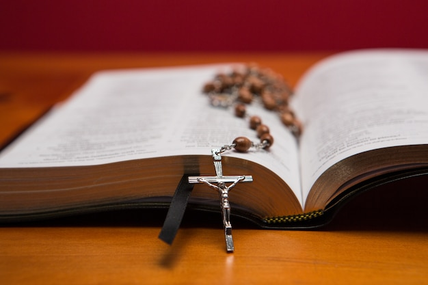 Rosary beads resting on open bible