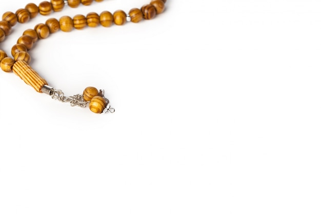 Rosary isolated on white background